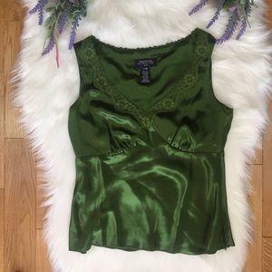 Jones New York Green Lace Trim Silk Blouse P/M NWT